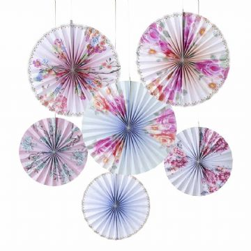 Truly Romantic Pinwheel Fans - pack of 6